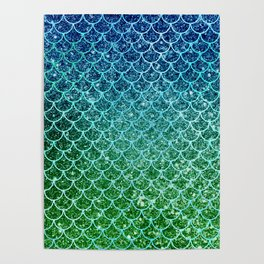 Mermaid Blue & Green Glitter Ombre Scales Poster