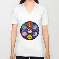 stained glass V-neck T-shirts featuring Stained Glass by Mazuki Arts