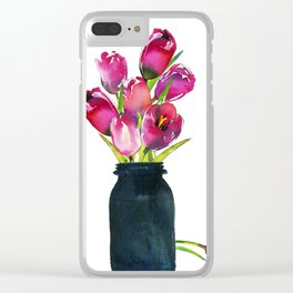 Red Tulips in Mason Jar Clear iPhone Case