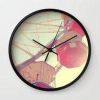 ferris wheel Wall Clocks featuring ferris wheel by shannonblue