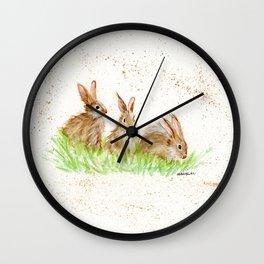 Hoppy Trio Bunnies - animal watercolor painting of rabbits Wall Clock