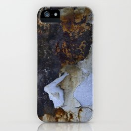Old white paint on rusty metal iPhone Case