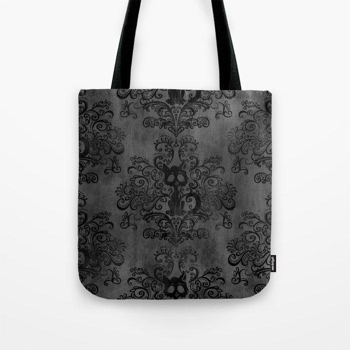 Creepy Cat Damask Tote Bag