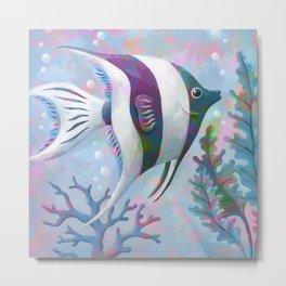 Hypercolor Angel Fish Metal Print