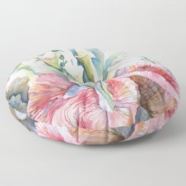 White Calla Lily and Corals Seaweed Watercolor Surreal Botanical Underwater Floor Pillow