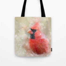 Northern Cardinal Watercolor Splatter Tote Bag