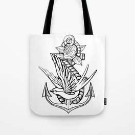 Anchor Swallow & Rose Old School Tattoo Style Tote Bag
