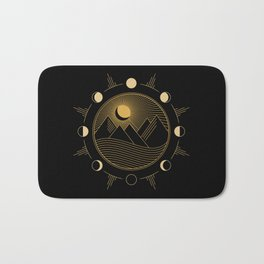 Lunar Phases With Mountains Bath Mat