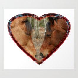 Loving horses Art Print