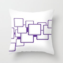 PURPLE SQUARES ON A WHITE BACKGROUND Abstract Art Throw Pillow
