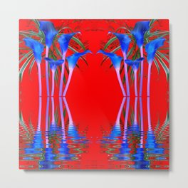 BLUE CALLA LILIES RED WATER REFLECTIONS Metal Print