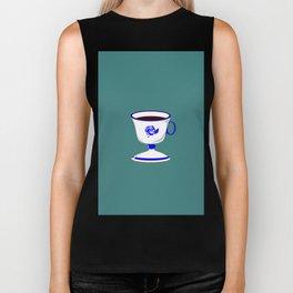 Cup of Coffee in Blue Flow Vintage China Biker Tank