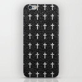 White Crosses Pattern Black Leather Photo Print iPhone Skin