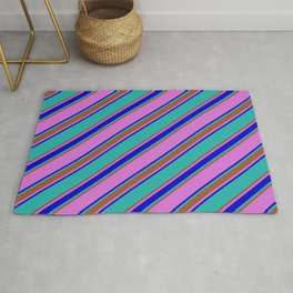 Light Sea Green, Sienna, Orchid, and Blue Colored Stripes Pattern Rug