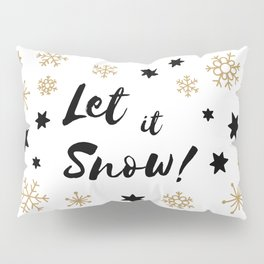 Let it Snow! Calligraphy Christmas, Stars and Snowflakes Pillow Sham