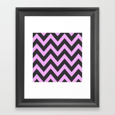 Pink & Charcoal Chevron Framed Art Print