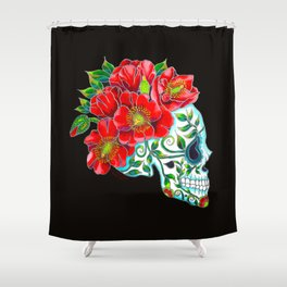 Sugar Skull with Red Poppies Shower Curtain