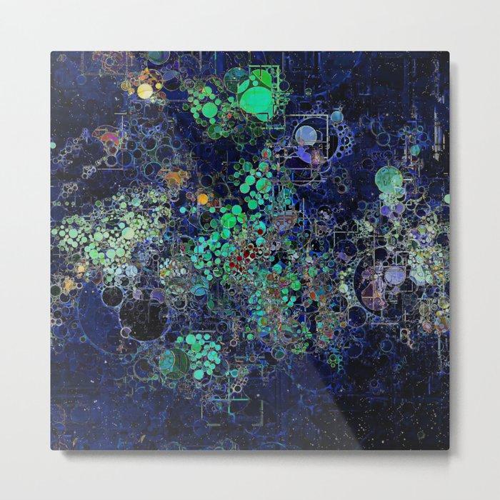 Dark Indigo Turquoise Abstract Design Metal Print