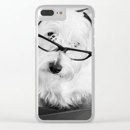 Really? Cute Westie Dog Wearing Glasses Clear iPhone Case