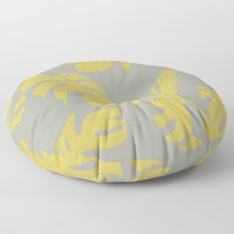 Simply Mod Yellow Palm Leaves on Retro Gray Floor Pillow