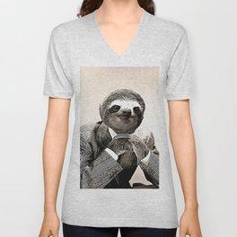 Gentleman Sloth in Smart Posture Unisex V-Neck