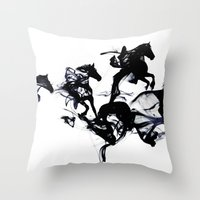 horses Throw Pillows featuring Black horses by Robert Farkas