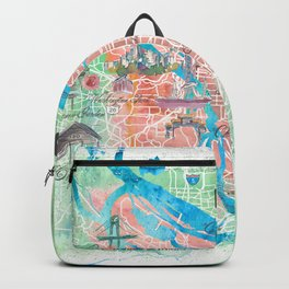 Portland Oregon Illustrated Map with Main Roads Landmarks and Highlights Backpack