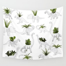 Dino and Cacti on White Wall Tapestry