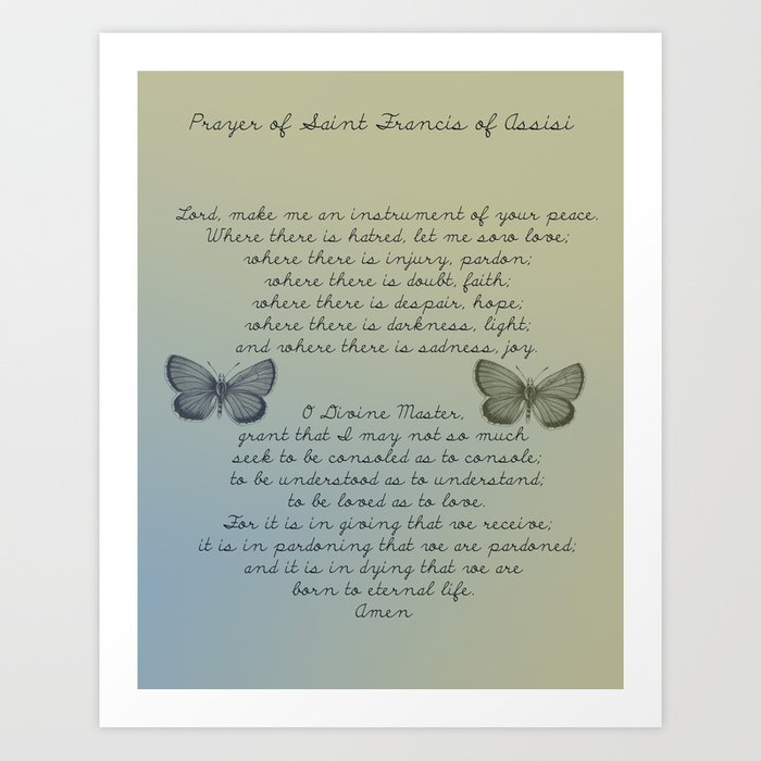 image relating to St Francis Prayer Printable identified as Prayer of St. Francis of Assisi Artwork Print through joacreations