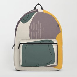 Contemplation, Mid Century Modern Art Gold Gray Backpack