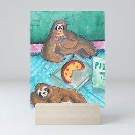 sloths pizza party Mini Art Print