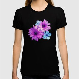 Dark pink and blue floral pattern T-shirt