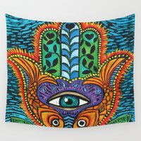 hamsa Wall Tapestries featuring Hamsa  by Fortissimo6