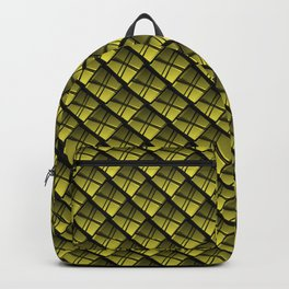 Interweaving square tile made of yellow rhombuses with dark gaps. Backpack