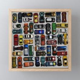 Toy cars pattern Framed Mini Art Print