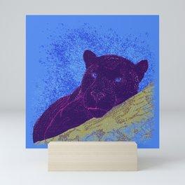 Purple panther on a branch - Blue Mini Art Print