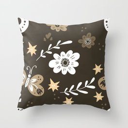 Dark Brown Pattern with White Flowers and light brown butterflies Throw Pillow