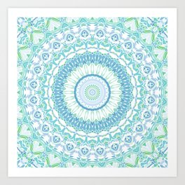Blue, Green and White Mandala 02 Art Print