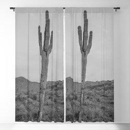 Saguaro B&W // Desert Landscape Photography Arizona Cactus Black and White Vintage Southwestern Vibe Blackout Curtain