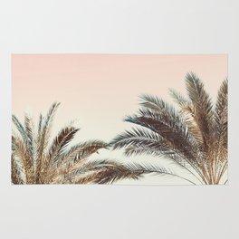 Modern California Vibes pink sky blue seascape tropical palm tree beach photography Rug