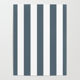 Cadet grey - solid color - white vertical lines pattern Poster