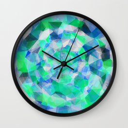 geometric polygon abstract pattern in blue and green Wall Clock