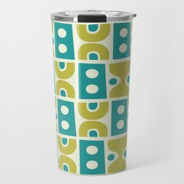 Funky Mid Century Modern Pattern 773 Turquoise and Chartreuse Travel Mug