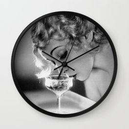 Jazz Age Blond Sipping Champagne black and white photograph / photography Wall Clock