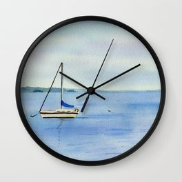 Boat in Maine Watercolor Painting Wall Clock