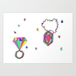 Shine Colorfully diamonds jewelry illustration fashion gem colorful accessory princess girly Art Print