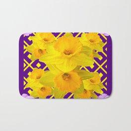Wild Roses Gold Daffodil Purple Pattern Bath Mat