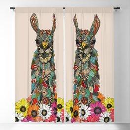 llama daisy love almond Blackout Curtain
