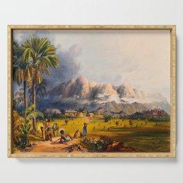 Esmeralda On The Orinoco Illustrations Of Guyana South America Natural Scenes Hand Drawn Serving Tray