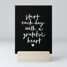 Start Each Day With a Grateful Heart black-white typography poster design modern wall art home decor Mini Art Print